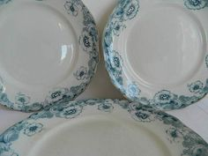 3 antique serving plates. French porcelain serving plates, dishes,