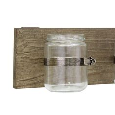 Rustic Multifunctional Natural Wood Hanging Wall Decor with 3 Glass Jar Containers - Walmart.com - Walmart.com #BathroomDecorSets New Bathroom Designs, Bathroom Decor Sets, Rustic Bathroom Decor, Rustic Bathrooms, Bathroom Design Small, Bathroom Ideas, Old Candle Jars, Mason Jar Candle Holders, Unique Wall Decor