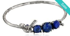 Protection Lapis Set Stone Silver Bangle -
