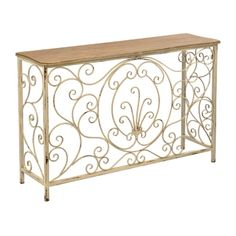 Distressed Ivory Scrolled Garden Console Table