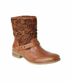 Boots cuir et dentelle femme