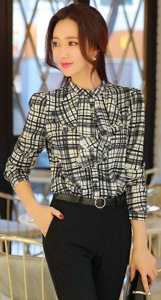 StyleOnme_Artistic Check Patterned Front Ruffle Detail Blouse #black #white #feminine #elegant #officelook #koreanfashion #kstyle #seoul #dailylook #blouse