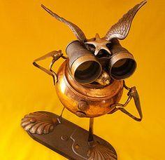 robot assemblage sculpture * STARBIRD - The Intergalactic Highway Patrol Steampunk Jewelry BoxRobot    Sculpture by Will Wagenaar