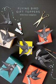 Flying bird gift toppers | The House that Lars Built