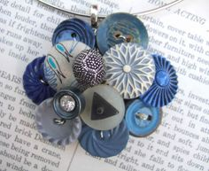 I have been BUSY making things out of items I already have. I am trying to think of more utilitarian uses for things instead of art. Jewelry Crafts, Jewelry Art, Beaded Jewelry, Vintage Jewelry, Jewelry Design, Jewellery, Button Art, Button Crafts, Handmade Crafts