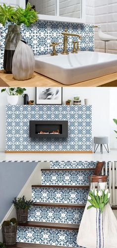 Stunning and colorful set of 24 removable high-quality vinyl tile stickers. Ultimate solution for budget-savvy design enthusiasts looking to add a personalized and colorful touch to their space. The stickers are so easy to apply and remove! #stickers #tilestickers #walltilestickers #homedecor #roomdecor #hometilestickers #decortivetilestickers #kitchentilestickers #bathroomtilestickers #stairtilestickers #kitchendecor