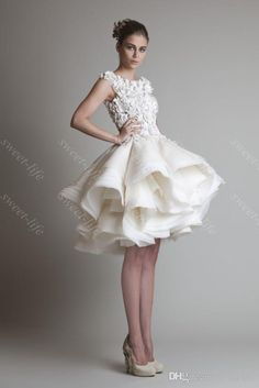 2015 Vintage court robe de bal robes de mariée Krikor Jabotian Cap bateau dentelle à volants au genou longueur courte robe de cocktail Party robes de mariée