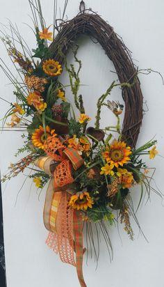 Fall Wreath Sunflower Wreath by GreeneCountyFlorist on Etsy