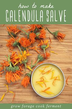 How To Make Calendula Salve // Calendula is an herb that is very gentle on the skin and perfect for scrapes and bug bites. Learn how to make a heal-all calendula salve!