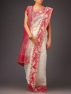 Buy Cream Red Cotton Jamdani Saree Sarees Woven Wondrous Ethereal Dhakai Online at Jaypore.com