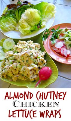 Chicken Lettuce wrap recipe with almonds and chutney. Perfect for a light meal or ladies luncheon. A healthy chicken lettuce wrap recipe. via @lannisam