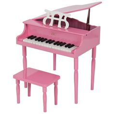 Childs Piano Pink Wooden 30 Keys With Kids Bench Grand Baby Toy For Christmas #ChildsPiano