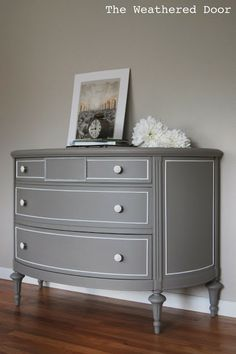 Reeves at The Weathered Door just finished a stunning grey demi lune dresser. She topped it off with knobs from our store and the result is amazing! Thanks for the link Reeves!