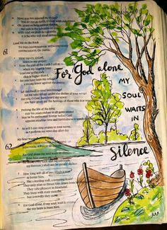 Psalm 62:1 One of my favorite movies is Nell, with Jody Foster. It has a lot to teach us about the power of silence in nature. For me, the woods are like a cathedral. Bible art journaling by @peggythibodeau www.peggyart.com