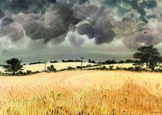 Standing corn near Halesworth David Gentleman, Suffolk Coast, Watercolor Artists, First Night, Art History, Scenery, Castle, Clouds, Island