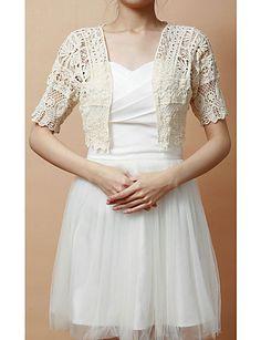Fine Short Sleeve Cotton Casual/Holiday Jacket/Wrap