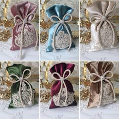 Bolsas colores Wedding Favor Bags, Wedding Candy, Wedding Gifts, Hobbies And Crafts, Diy And Crafts, Sewing Crafts, Sewing Projects, Ramadan Gifts, Gift Wraping