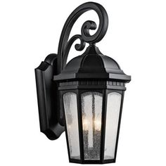 Kichler Courtyard H Textured Black Candelabra Base Outdoor Wall Light at Lowe's. The Courtyard™ 3 light outdoor wall light with clear seeded glass Textured Black finish. The Courtyard wall light curls and heritage detail Black Outdoor Wall Lights, Outdoor Wall Lantern, Outdoor Wall Sconce, Outdoor Wall Lighting, Outdoor Walls, Outdoor Spaces, Exterior Lighting, Outdoor Decor, Outdoor Ideas