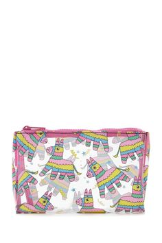 A clear makeup bag featuring a multicolored piñata graphic print and a zip-up top.