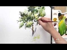 How to paint the by Um KyungHo Watercolor Video, Watercolor Pictures, Watercolour Tutorials, Watercolor Techniques, Watercolor Landscape, Watercolor Flowers, Watercolor Paintings, Watercolors, Painting Videos