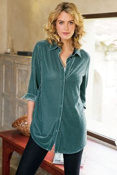Soft Surroundings Tops - Plus-size Velvet Boyfriend Shirt Camisa Boyfriend, Boyfriend Shirt, New Outfits, Casual Outfits, Fashion Outfits, Womens Fashion, Casual Wear, Soft Surroundings Clothing, Velvet Shirt Dress