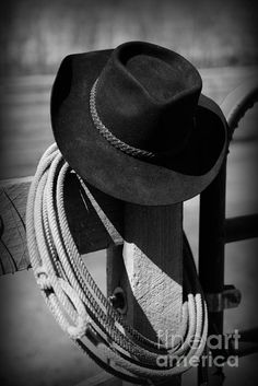 Paul Ward, black and white, b, black cowboy hat, western, west, cowboy, cowboy hat, lasso, cowboy rope, western art, wild west, ranch, ranching, ranch hand, quaint, horse, rodeo, southwest art, cowboy art, western art, roping, cowboy hat on fence post, cattle, branding,