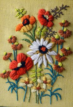 Vintage Yellow Floral Crewel Embroidery