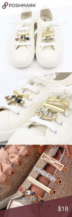 Set of 5 Metal Rhinestones Shoelace Charms BRAND NEW.  Versatile in decorating shoelaces. Accessories