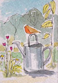 ACEO original watercolour - Garden Robin- by Annabel Burton