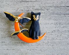 Vintage Cat Moon and Bats Halloween Brooch by shavingkitsuppplies, $22.00