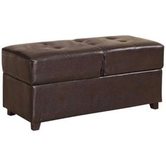 Tannon Espresso Bycast Leather Storage Bench - ($158.91)