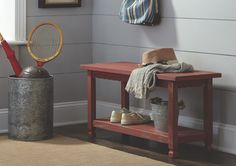 The Country Cottage Bench with Shelf can be used as a Coffee Table, a Bench in the mudroom or in any lifestyle setting. This sturdy unit is easy to assemble and includes a lower shelf for storage. The distressed finish gives this piece of furniture an Antique Feel.