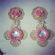 New earrings flowers peach
