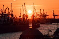 Sonnenuntergang am Hamburger Hafen 1602 II - Sonnenuntergang am Hamburger Hafen 1602 II