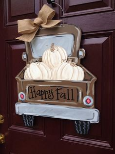 Lovely rustic Fall truck totin around these gorgeous whit pumpkins 🎃 Fall Door Hangers, Burlap Door Hangers, Halloween Door Hangers, Fall Crafts, Diy Crafts, Hanger Crafts, Holiday Crafts, Pumpkin Door Hanger, Fall Projects