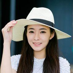 Summer wide brim panama hat for women straw sun hats package design