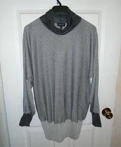 NEW ESCADA SPORT Light & Dark Gray Swarovski Crystals Dolman Sleeves XL #ESCADA #KnitTop #Casual