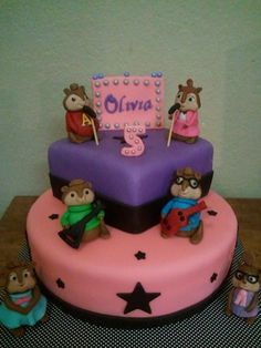 Alvin and the Chipmunks Cake... I know a little someone that would just love this!  So Cute!