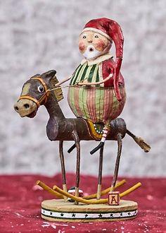 Muletide Santa by Lori Mitchell Quilling Christmas, Christmas Diy, Christmas Decorations, Christmas Ornaments, Xmas, Christmas Stuff, Holiday, Paper Mache Mix, Paper Mache Sculpture