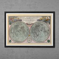 """ANTIQUE MAP of the MOON Moon Map Print by EncorePrintSociety - 11.75"""" x 15.75"""" - $19.95"""