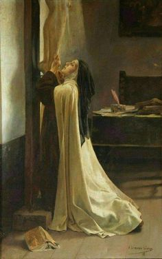 """"""" St Teresa of Jesus – Adolfo Lozano Sidro """" Keep in your mind that I could not exaggerate the importance of this. Fix your eyes on the Crucified and everything will become small for you. If His Majesty showed us His love by means of such. Nun Catholic, Catholic Saints, Roman Catholic, Sainte Therese De Lisieux, Ste Therese, Catholic Pictures, Bride Of Christ, Blessed Mother, Sacred Art"""
