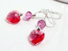Rose Swarovski Crystal Heart and Sterling Silver Earrings, $28