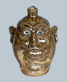 Joe Reinhardt Stoneware Swirl Face Jug -- Lot 448 -- July 2014 Stoneware Auction -- Crocker Farm, Inc. Face Jugs, White Eyes, White Clay, Pottery Art, Stoneware, Folk Art, Primitive, Auction, Artsy
