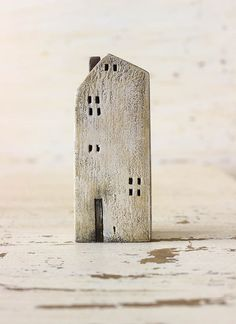 ceramic dirty white / sand gray colored house painted with acrylic colors - HOME DECOR