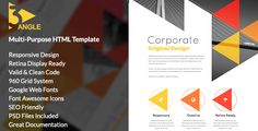 3angle combines beautiful and unique into one great template suitable for Corporate website, Portfolio, Blog or even Personal website.