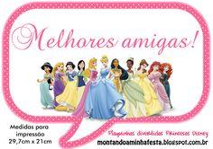 Montando minha festa: Plaquinhas Divertidas Princesas da Disney!