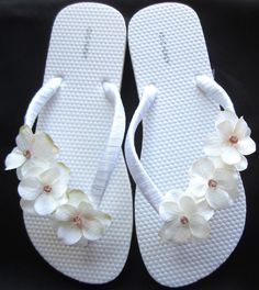 """The """"Trista"""" White Flip Flop Sandal with Ivory flowers - great for beach - wedding - bride - bridesmaid gift"""