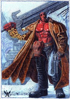 Hellboy in a graveyard by AngeloDeCapuaart on DeviantArt