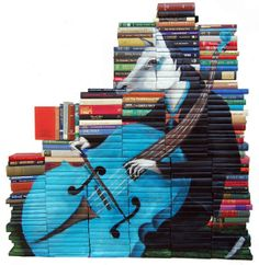 Boekenkunst Mike Stilkey: http://amazingtechzone.com/art/immense-paintings-on-hardcovers-of-books-by-mike-stilkey-from-los-angeles/.