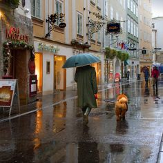 """A rainy day in Salzburg, Austria. Salzburg's """"Old Town"""" is internationally renowned for its baroque architecture and is one of the best-preserved city centers north of the Alps."""